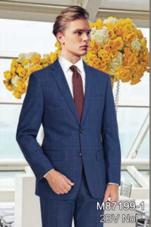 Navy Windowpane Full Suit 100% Wool