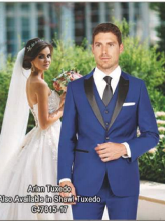 French Blue Tuxedo Poly-Rayon