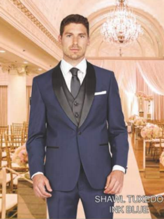 Ink Blue Tuxedo Poly-Rayon