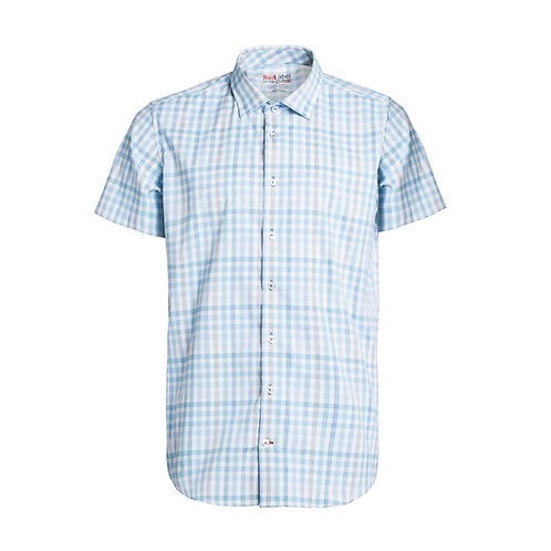 Men's Short Sleeve Voyage Check Fitted Performance Stretch Shirt