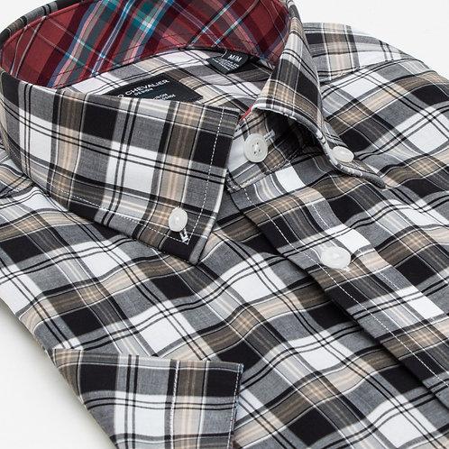 100% Cotton No Iron Button Down Collar Short Sleeve Shirt