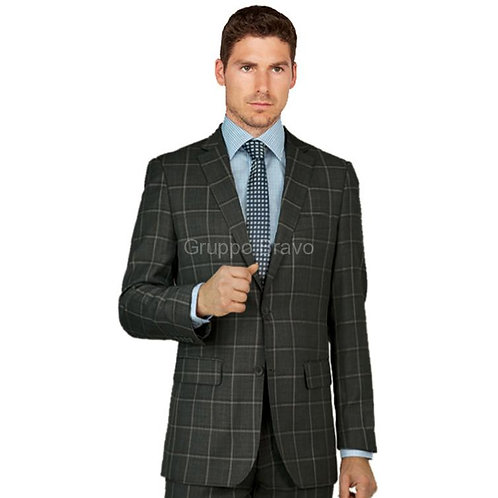 Gray Sharkskin Plaid Full Suit 100% Wool
