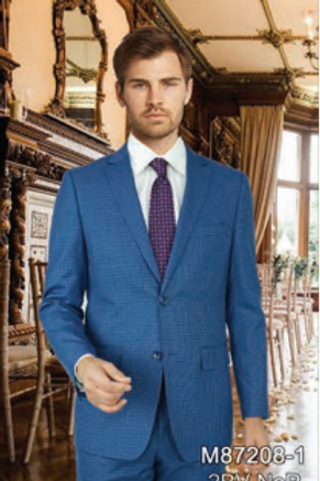 Royal Blue Check Full Suit 100% Wool