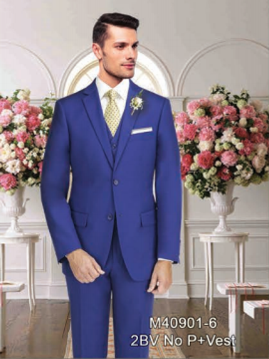 Solid French Blue Suit Seperate 100% Wool