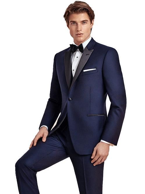 Blake Navy Tuxedo 1 Peak Black Satin Lapel