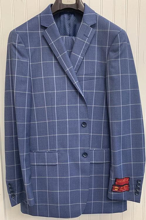 Blue Sharkskin Windowpane Full Suit 100% Wool