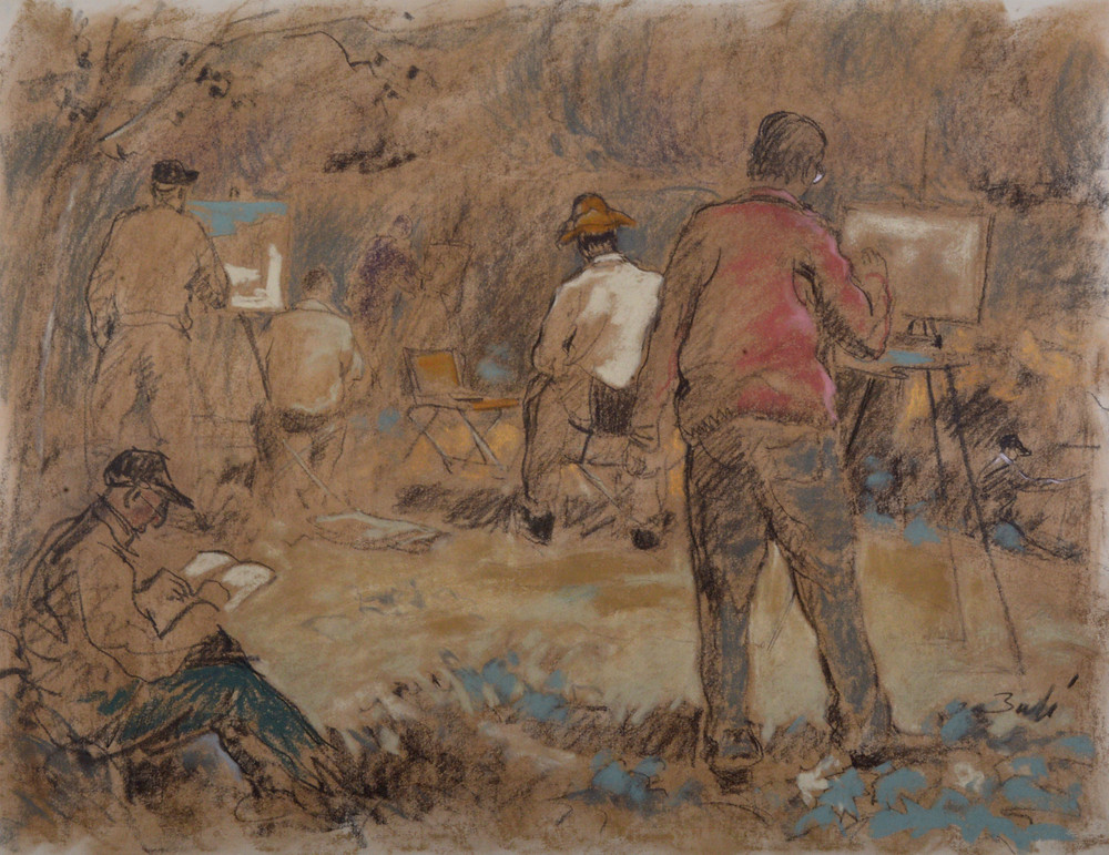 Una de les sortides amb els seus amics pintors. El particular homenatge de Ramon Bufí als seus amics i a la figura del pintor.