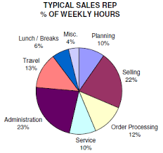 How long, each day, do sales people spend doing their job?