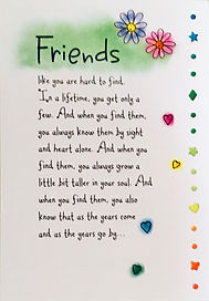 Friends like you are hard to find friendship poem on a greeting card by Ashley Rice published by Blue mountain arts