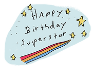 happy birthday superstar digital printable rainbow and stars sticker by Ashley Rice