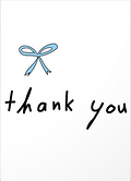 thank you note with illustration of cornflower blue bow by Ashley Rice