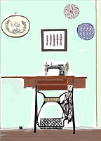 drawing of antique singer sewing maching on greeting card by Ashley Rice