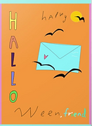 cute kawaii happy halloween friend card with bubble letters by Ashley Rice