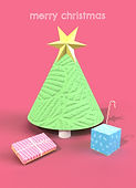 cute 3d retro christmas tree with wrapped presents merry christmas holiday greeting card by Ashley Rice