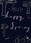 happy spring greeting card with tree drawings on it by Ashley Rice