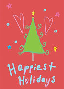 happiest holidays cute greeting card with line drawing of cartoon fir tree and hears and stars by Ashley Rice