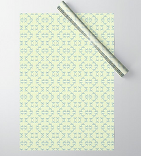 blue bows on cream cute wrapping paper by Ashley Rice