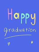 happy graduation cute bright blue greeting card with bubble letters by Ashley Rice
