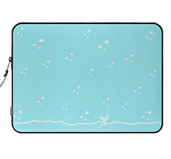 tiny white stars lighlt blue laptop skin with white bow by Ashley Rice