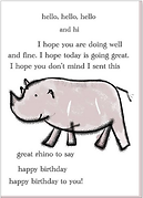 hello and hi and happy birthday cute rhinoceros line art drawing on birthday greeting card by Ashley Rice