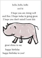 hello and hi and happy birthday cute rhinoceros line art drawing on birthday greeting card by Ashley Rice