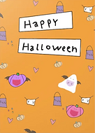happy halloween cute greeting card with drawings of pumpkins and ghosts and bats with face masks on by Ashley Rice