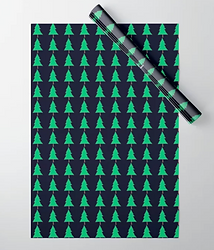 repeating pattern of cute green fir trees on dark navy background holiday gift wrap wrapping paper by Ashley Rice