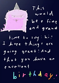 pink dinosaur birthday card by Ashley Rice