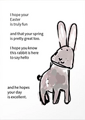 easter poem with cute line drawing of watercolor rabbit greeting card by Ashley Rice
