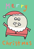 cute santa clause dancing with the words merry christmas greeting card by Ashley Rice