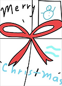 merry christmas drawing of holdiay package with snowman stamp greeting card by Ashley Rice