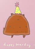 happy bearday cute bear wearing birthday hat on greeting card by Ashley Rice