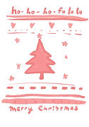 hohoho fa lala merry christmas red and white christmas tree design on greeting card by Ashley Rice