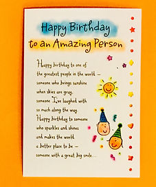 Happy Birthday to an amazing person poem on a greeting card by Ashley Rice