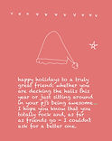 cute holiday greeting card about friendship with santa hat drawing by Ashley Rice