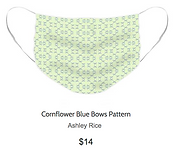 blue bows pattern on light yellow face mask by Ashley Rice