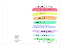 I hope your day is special colorful unexpected but beautiful and magicall kind like a rainbow happy wishes on your birthday friend cute watercolor rainbow birthday card by Ashley Rice instant digital download printable greeting card