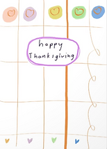 cute pastel happy thanksgiving card with pastel pumpkins and hearts greeting card by Ashley Rice