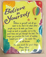 Believe in yourself miniature easel back print with air balloon by Ashley Rice