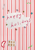 happy holidays cute candy stripe retro greeting card by Ashley Rice