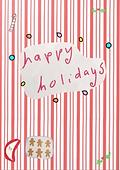 happy holidays cute candy stripe retro greeting card by Ashley Rice