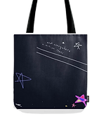and everywhre a million stars navy tote bag by Ashley Rice