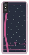 navy and pink polka dot and bow phone case by Ashley Rice