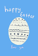 painted cream and navy easter egg on light blue background with the words happy easter luv ya written in pink easter greeting card by Ashley Rice