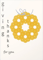 giving thanks for you thanksgiving greeting card with gold wreath design by Ashley Rice