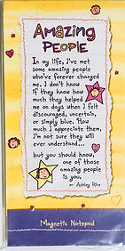 A poem called amazing people on a cute notepad by Ashley Rice published by Blue Mountain Arts