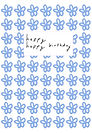 cute happy birthday card by Ashley Rice with blue flower repeating pattern
