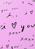 hi i love you pink greeting card by Ashley Rice