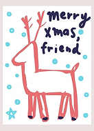 merry christmas friend cute reindewer greeting card by Ashley Rice