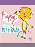 cartoon cat with the words happy birthday writtien in big cursive letters cute birthday card for kids by Ashley Rice